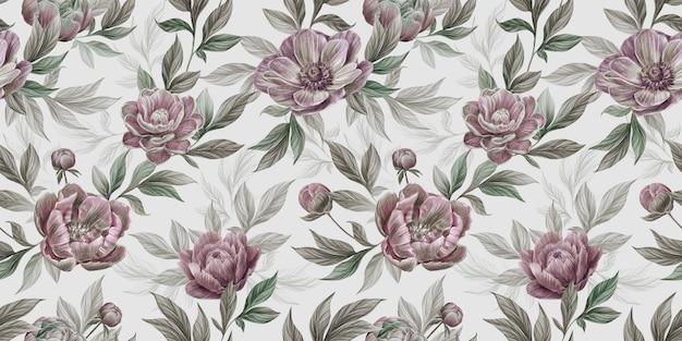 Motivo floreale vintage senza soluzione di continuità con fiori di peonia, anemone, foglie