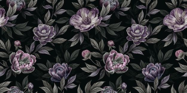 Motivo floreale vintage senza soluzione di continuità con fiori di peonia, foglie