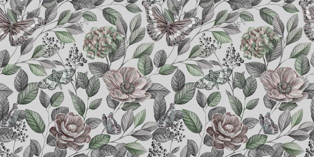 Motivo floreale vintage senza soluzione di continuità con fiori di peonia vintage, ortensie, anemoni, bacche, foglie