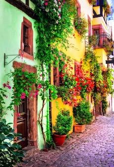 Floreale città tradizionale colmar con affascinanti strade antiche