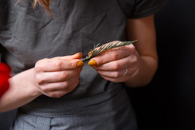 Donna floreale che tiene piccolo brunch di pino su oscurità