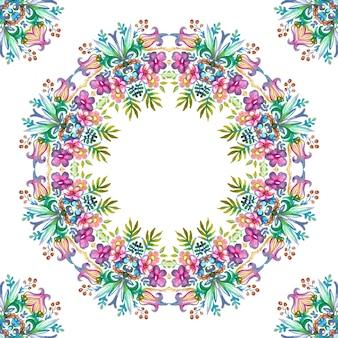 Ghirlanda floreale con fiori colorati primaverili ed estivi e foglie verdi. banner raster