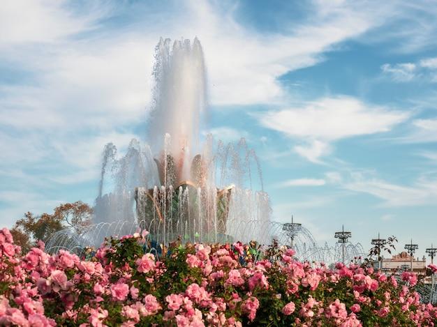 Aiuola e fontana contro un cielo blu. focalizzazione morbida. esposizione dei risultati dell'economia nazionale di vdnh. mosca.
