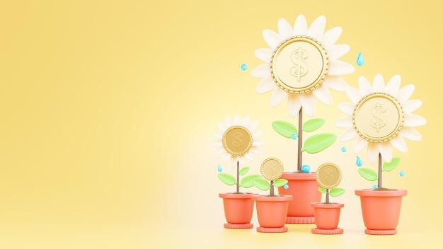 Monete d'oro fiore e il concetto di risparmio di denaro