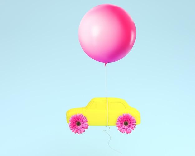 Ruota della disposizione del fiore e giallo dell'automobile con il pallone rosa che galleggia sul fondo blu. minimo