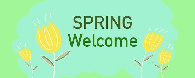 Fiore in stile primavera estate bellissimo banner e copertina iilustration, sfondo e disegno del modello fabirc di grafica digitale