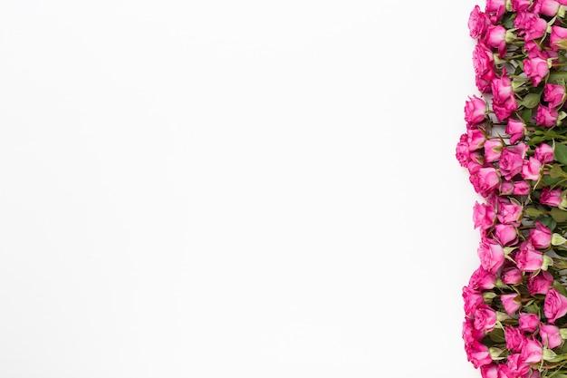Composizione di fiori. cornice fatta di rosa rossa su fondo di legno bianco. appartamento laico, vista dall'alto, copia dello spazio.