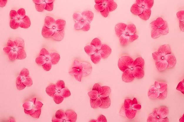 Composizione di fiori. modello fatto di fiori rosa