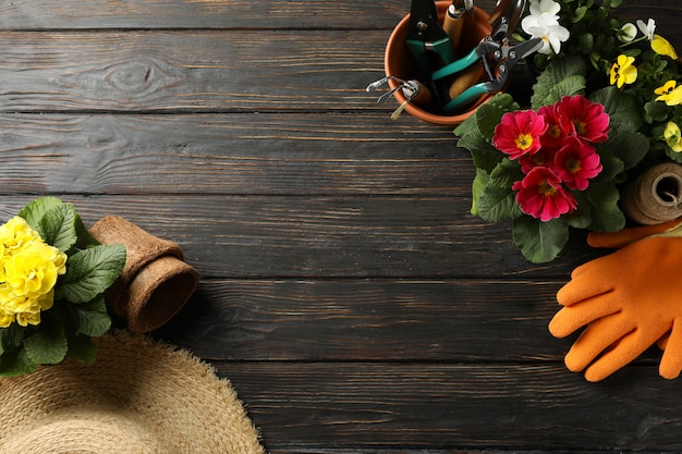 Fiori e strumenti di giardinaggio su fondo di legno, spazio per testo