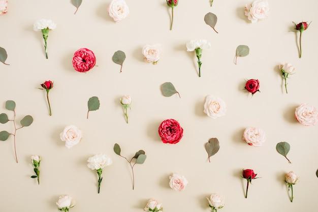 Struttura del modello di fiori fatta di rose beige e rosse, foglia di eucalipto su sfondo beige pastello pallido. disposizione piatta, vista dall'alto