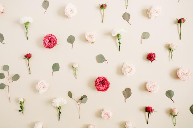 Struttura del reticolo di fiori fatta di rose beige e rosse, foglia di eucalipto su beige pastello pallido