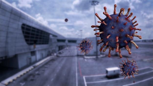 Coronavirus influenzale che fluttua in aria ai cancelli dell'aeroporto