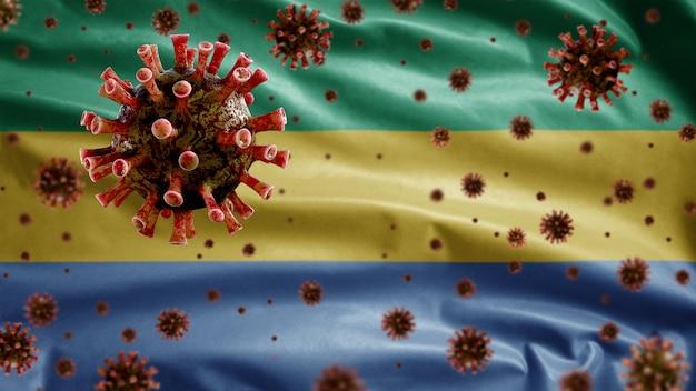 Coronavirus influenzale che galleggia sulla bandiera gabonese, agente patogeno che attacca le vie respiratorie