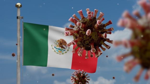 Coronavirus influenzale che galleggia sopra la bandiera messicana