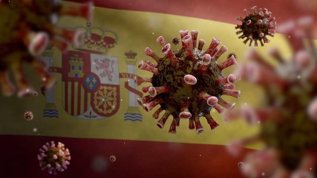 Coronavirus influenzale che fluttua sopra la bandiera spagnola
