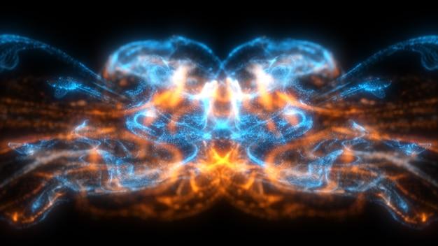 Particelle fluide di colore blu e arancione che scorre bello con sfondo astratto di profondità di campo