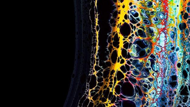 Fluide liquide art colori ad olio acrilico texture. sfondo astratto effetto vernice di miscelazione. spruzzi di flussi di opere d'arte acriliche colorate liquide. colori traboccanti di texture fluide d'arte