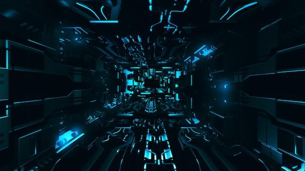 Vola dentro della rappresentazione metallica futuristica del corridoio 3d