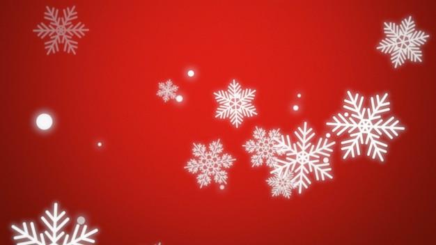 Vola fiocchi di neve bianchi e particelle astratte su sfondo rosso vacanza. modello di vacanza in stile illustrazione 3d di lusso ed elegante per felice anno nuovo e buon natale sfondo lucido