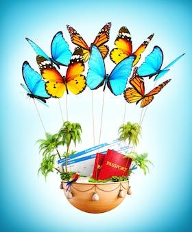 Farfalle volanti che trasportano un cesto con isola tropicale, passaporti e carte d'imbarco all'interno