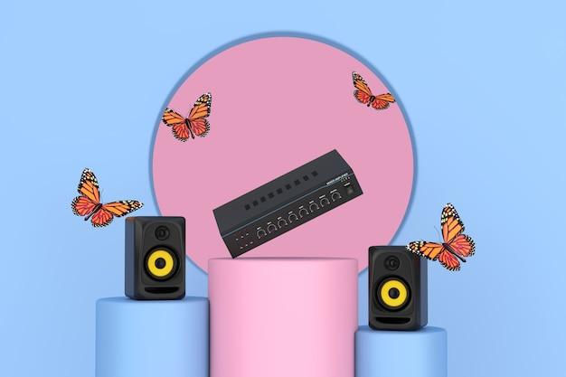 Farfalla volante tra altoparlanti acustici da studio audio, amplificatore mixer stereo hifi su piedistallo rosa e blu promo su uno sfondo rosa e blu. rendering 3d