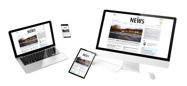Dispositivi volanti con design reattivo del sito web di notizie. rendering 3d