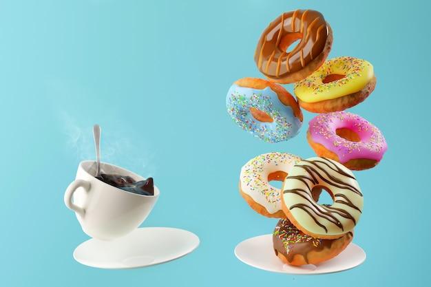 Ciambelle colorate dolci volanti e cadenti e una tazza di caffè calda su sfondo blu. concetto di colazione e caffè.