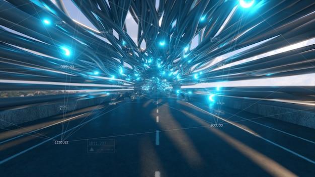 Volare in un tunnel futuristico in fibra ottica con una strada
