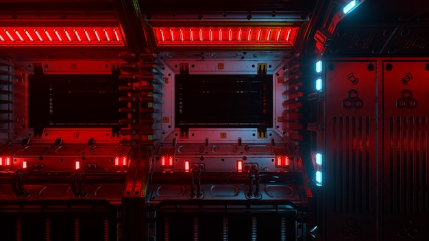 Volare nel tunnel dell'astronave, corridoio dell'astronave di fantascienza. tecnologia futuristica astratta vj senza soluzione di continuità per titoli tecnici e sfondi. grafica del traffico internet, velocità. illustrazione 3d