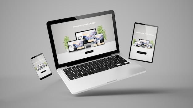 Rendering 3d di laptop, mobile e tablet volante che mostra il responsive web design