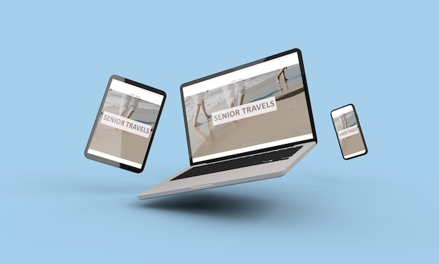 Rendering 3d di laptop, mobile e tablet volante che mostra viaggi senior responsive web design.3d illustrazione