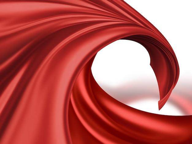 Tessuto di seta rosso volante su sfondo chiaro