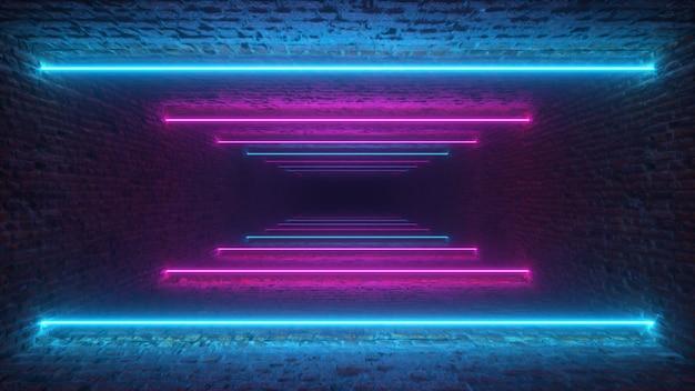 Volare attraverso linee luminose al neon creando un tunnel di mattoni