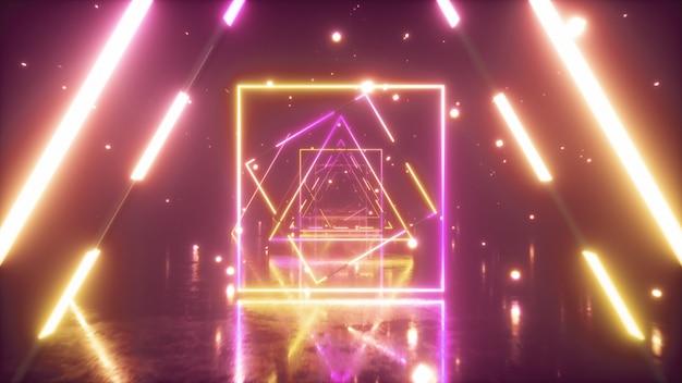 Volare attraverso triangoli al neon luminosi con pavimento in metallo creando un tunnel con nebbia