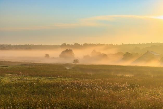Nebbia sulle case del villaggio in raggi arancioni del sole nascente nella mattina di autunno. paesaggio naturale