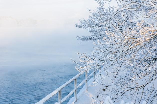 Paesaggio nebbioso invernale di nebbia sul fiume spazio vuoto biglietto di auguri per le vacanze di natale e capodanno