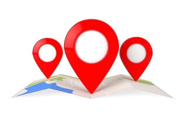 Mappa di navigazione astratta piegata con tre perni puntatore mappa di destinazione su sfondo bianco. rendering 3d