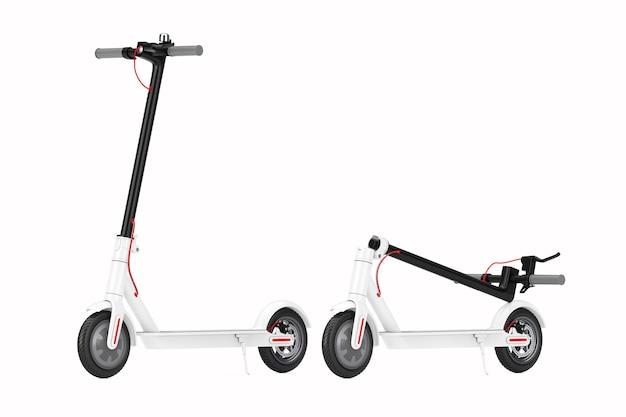 Scooter elettrico piegato eco moderno bianco su sfondo bianco. rendering 3d
