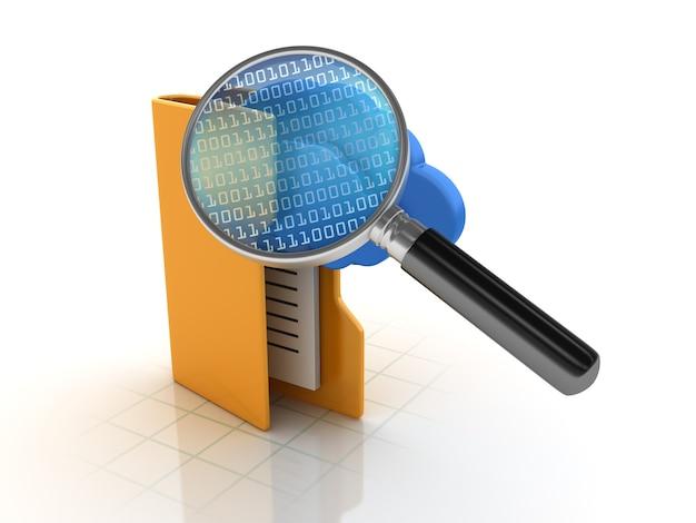 Ricerca cartelle con cloud computing e codice binario e lente d'ingrandimento