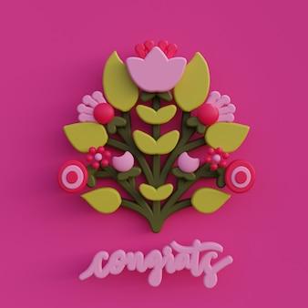 La cartolina d'auguri del fiore 3d di arte popolare 3d rende l'illustrazione botanica dell'ornamento