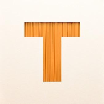 Progettazione di font, font alfabeto astratto con struttura in legno, tipografia in legno realistica - t