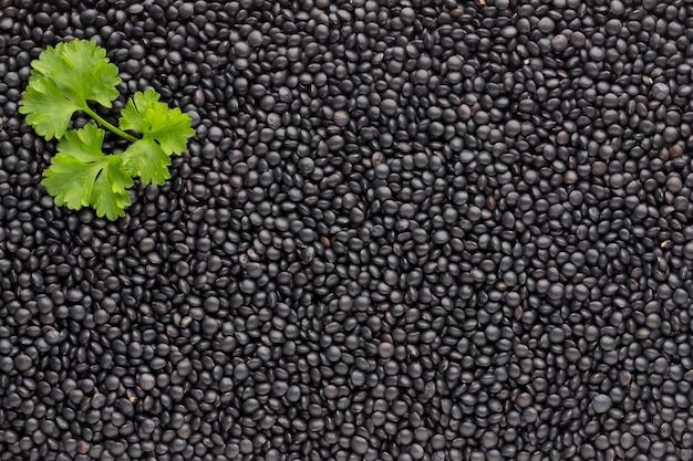 Sfondo di cibo e cucina di lenticchie nere secche sane.