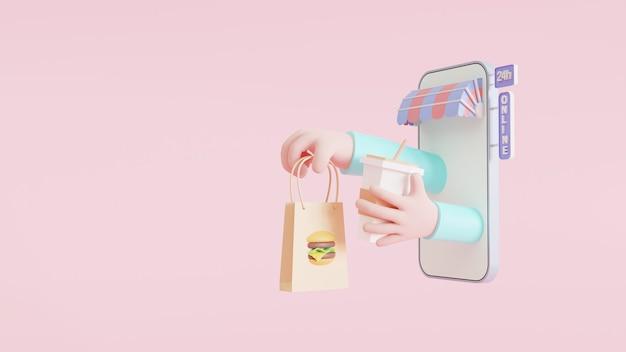 Concetto di app per la consegna di cibo. uno smartphone con un braccio che tiene un sacchetto di cibo e una tazza che spunta da esso. luminoso e colorato. attività di consegna online. illustrazione 3d
