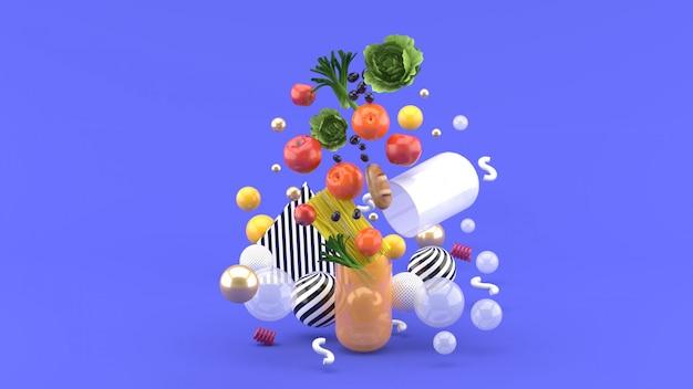 Il cibo galleggia fuori dalla capsula in mezzo a palline colorate sul viola. rendering 3d