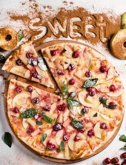 Arte della fotografia di cibo. ricetta torta di mele. concetto di menu pizza di frutta dolce ristorante creativo restaurant