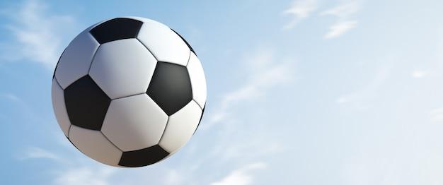 Pallone da calcio in volo.