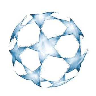Pallone da calcio fatto di spruzzi d'acqua isolati su sfondo bianco.