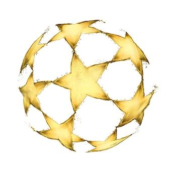 Pallone da calcio con stelle gialle fatte di spruzzi di birra a forma di palla isolata su sfondo bianco.