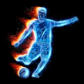 Ologramma di giocatore di football isolato su sfondo scuro. il concetto di scommesse sportive, calcio, gioco d'azzardo, trasmissione online del calcio. illustrazione 3d, rendering 3d.