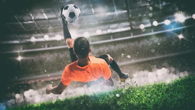 Scena di calcio durante la partita notturna con giocatore pronto a sparare la palla